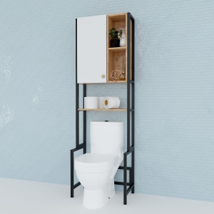 KTL001- Kệ Toilet gỗ Cao Su khung sắt có tủ