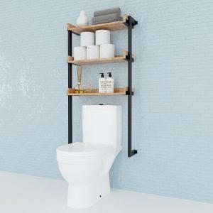 KTL002 - Kệ Toilet treo tường gỗ Cao Su khung sắt