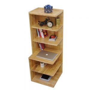 KGT68002 - Kệ sách trang trí góc tường bằng gỗ 6 tầng - 50x50x140 (cm)