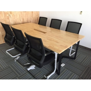 BH68001 - Bàn họp họp văn phòng hình chữ nhật khung chân sắt hình chữ U - 240x120x75 (cm)