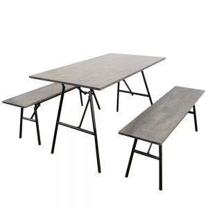 Combo bộ bàn ghế ăn ARGON  gấp gọn màu nâu lau CBBA014