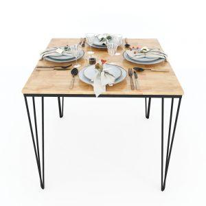 BA68025 - Bàn ăn vuông gỗ cao su chân hairpin 80x80x75(cm)