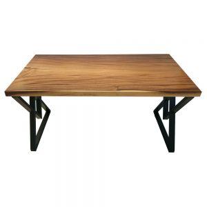 BMT049 - Bàn gỗ Me Tây Nguyên Tấm 70x140cm chân sắt Kim Cương