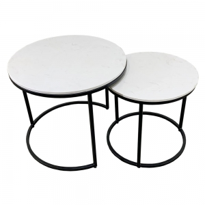TT68085 - Bộ 2 bàn Sofa mặt đá khung sắt sơn đen