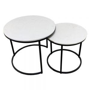 Bộ 2 bàn Sofa mặt đá khung sắt sơn đen TT68085