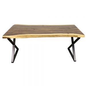 BMT048 - Bàn gỗ Me Tây Nguyên Tấm dày 5cm chân chữ X (70x160cm)