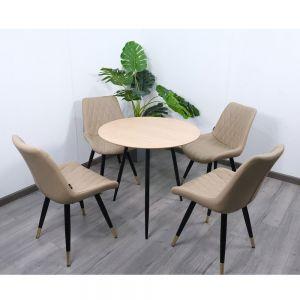Combo bàn ăn tròn Aster kết hợp 4 ghế có nệm CBBA010