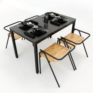 CBBA017 - Combo bộ bàn ăn 120x60cm và 4 ghế COZY nhiều màu