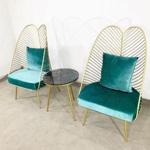CBCF034 - Combo bộ bàn ghế cafe, thư giãn màu vàng đồng