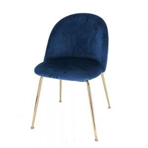 GCF042 - Ghế cafe lưng nệm nhung chân màu đồng