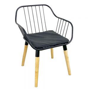 GCF046 - Ghế cafe lưng khung sắt chân gỗ