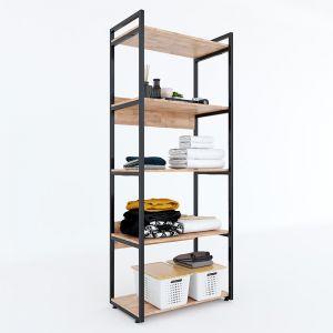 KQA68037 - Kệ quần áo VEGA 5 tầng gỗ kết hợp khung sắt 80x45x200(cm)