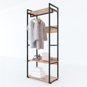 KQA68036 - Kệ quần áo VEGA gỗ kết hợp khung sắt 80x45x200(cm)