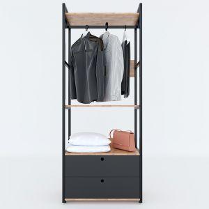 KQA68042 - Kệ quần áo VEGA 3 tầng kết hợp hộc tủ 80x45x200(cm)