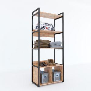 KQA68038 - Kệ quần áo VEGA gỗ khung sắt có hộc tủ 80x45x200(cm)