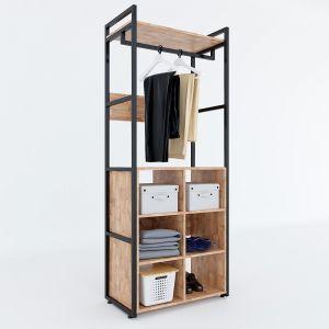 KQA68040 - Kệ quần áo VEGA gỗ khung sắt đa năng 80x45x200(cm)