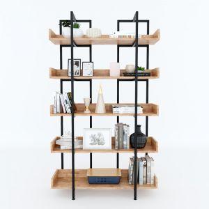Kệ sách trang trí CARINA 5 tầng gỗ kết hợp khung sắt 100x32x160(cm) KS68088