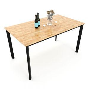 BA68028 - Bàn ăn gỗ cao su chân sắt Oval 140x80x75(cm)