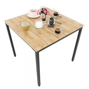 CFD68054 - Bàn cafe gỗ cao su chân sắt lắp ráp 80x80x75(cm)