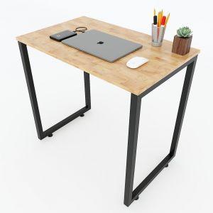 IDE68012 - Bàn mini SIBA 80x50x75(cm) gỗ cao su chân sắt lắp ráp