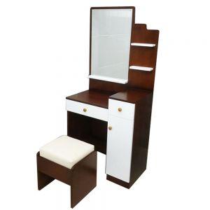 Bộ bàn trang điểm gỗ cao su màu cánh gián BTD68039