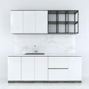 BTB68001 - Bộ hệ tủ bếp gỗ cao su kết hợp kệ khung sắt  (không bao gồm mặt đá và bồn rửa)