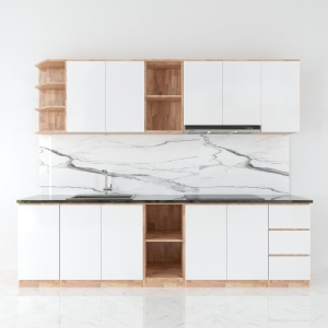 Bộ hệ tủ bếp gỗ cao su chống ẩm BTB68002