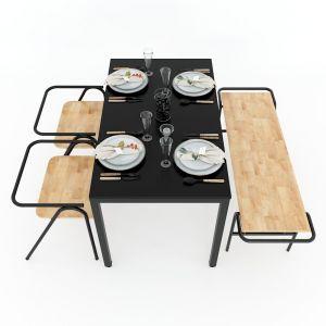 Combo bàn ghế ăn 120x70cm và ghế COZY CBBA022