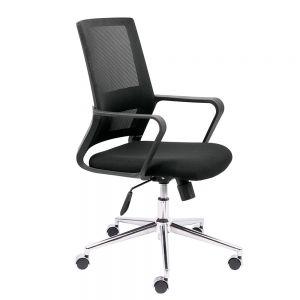 HOGVP096 - Ghế xoay văn phòng màu đen tay nhựa cố định Matric 01