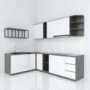 Hệ tủ bếp chữ L gỗ cao su chống ẩm ( không bao gồm mặt đá và bồn rửa) BTB68004