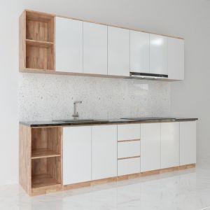 BTB68003 - Hệ tủ bếp hiện đại gỗ cao su ( không bao gồm mặt đá và bồn rửa)
