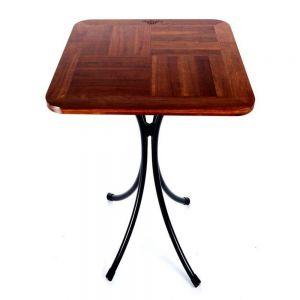 Bàn cafe ngoài trời gỗ chân sắt Kite01 vuông 55cm CFD68059