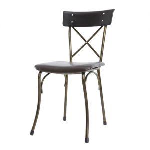 GCF055 - Ghế cafe nệm simili khung sắt màu đồng Kite 03