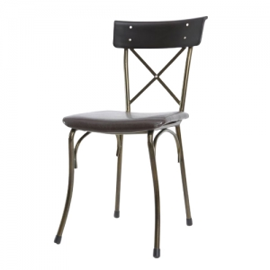 Ghế cafe nệm simili khung sắt màu đồng Kite 03 - GCF055