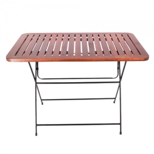 Bàn cafe ngoài trời xếp gọn Patio gỗ chân sắt CFD68057