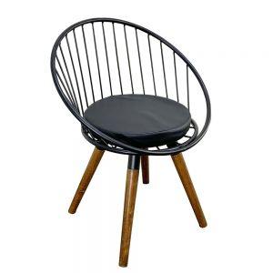 GCF059 - Ghế cafe chân gỗ lưng sắt có đệm