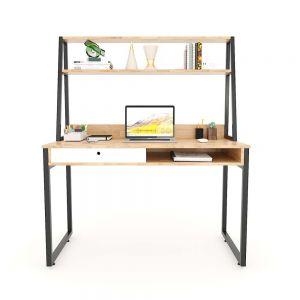 Bàn học có hộc kéo gỗ cao su kết hợp kệ sách 120x60x145(cm) FD68046