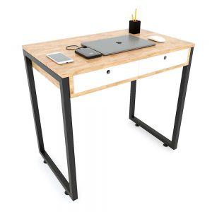 Bàn học mini 2 ngăn kéo chân sắt vuông 80x50x75(cm) BD68062