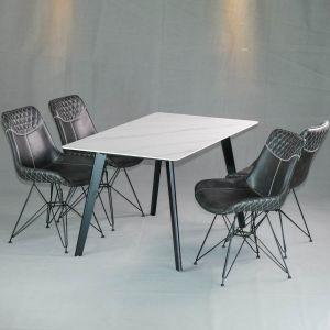 Combo bộ bàn ăn mặt đá cao cấp và 4 ghế nệm chân sắt kiểu CBBA026