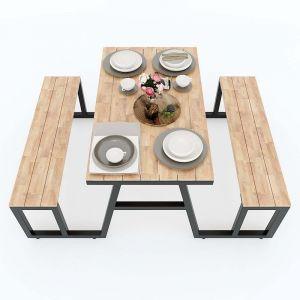 Combo bộ bàn ghế ăn gỗ cao su khung sắt lắp ráp CBBA028