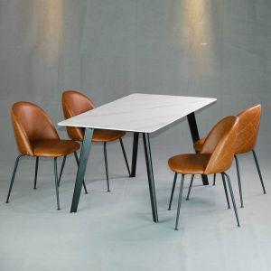 Combo bộ bàn ăn mặt đá cao cấp và 4 ghế mặt nệm simili CBBA027