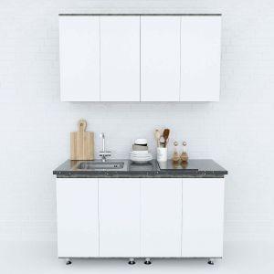 Hệ tủ bếp mini hiện đại 1m4 gỗ cao su chống ẩm BTB68014