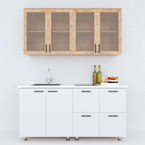 Hệ tủ bếp mini hiện đại 1m6 nhiều ngăn gỗ cao su chống ẩm BTB68015