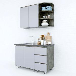 Hệ tủ bếp mini gỗ cao su 1m2 nhiều ngăn nhỏ gọn BTB68007
