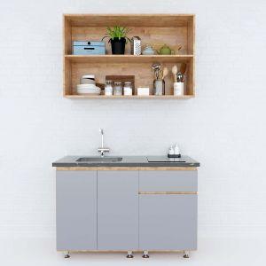 Hệ tủ bếp mini gỗ cao su 1m2 không gian mở BTB68008