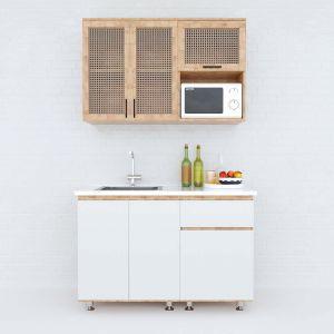 Hệ tủ bếp mini gỗ cao su 1m2 cửa tủ lưới mây BTB68009