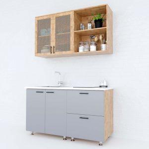 Hệ tủ bếp mini gỗ cao su 1m2 cửa tủ lưới mây BTB68010