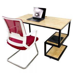 Combo bàn làm việc kết hợp kệ và ghế nệm chân quỳ CB68078