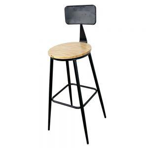 Ghế Bar có lưng tựa chân sắt sơn tĩnh điện mặt ghế gỗ GBSK003
