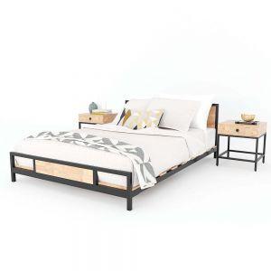 Giường ngủ Ferrro gỗ cao su kết hợp khung sắt lắp ráp GN68023